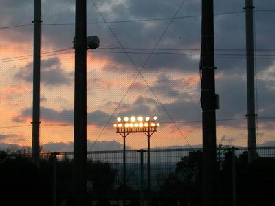 照明と夕焼け
